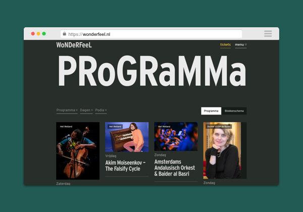 Wonderfeel festival programma website